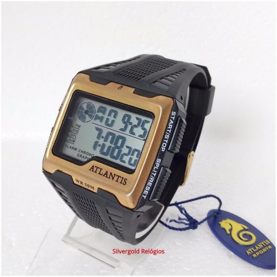 Relógio Masculino Digital Atlantis A7472 Quadrado Original Prova Dagua