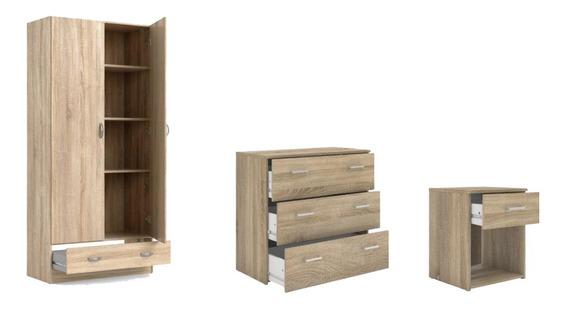 Paq 3 Muebles Closet Con Repisas Cómoda Y Buró, Cafe Claro