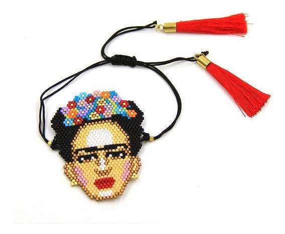 Pulsera Acero Miyuki Imagen Frida Kahlo Borlas