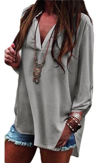 Camiseta Feminina Gola V Manga Rolo Túnica Blusa Superior