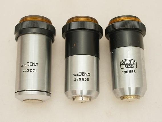 3 Lente Carl Zeiss Microscópio Rms 20, 40 & 100