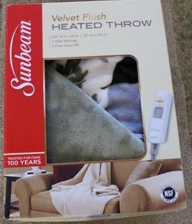 Sunbeam Calentador Electrico Throw Blanket Velvet Plush Lava