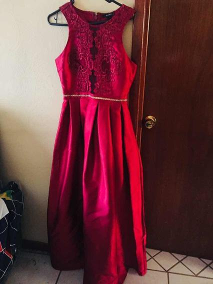 Vestido De Noche Color Tinto