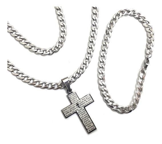Crucifixo Pai Nosso + Cordão + Pulseira Grumet Italiano Aço