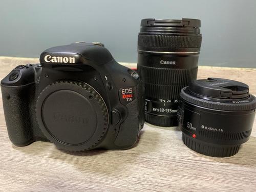 Câmera Canon T3i + Lente 18-135mm + Lente 50mm + Mochila