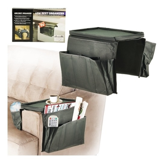 Esteira Bandeja Para Braço De Sofa Flexivel Com Porta Controle E Organizador