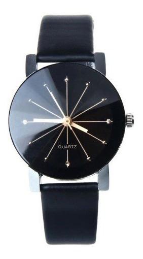 Reloj Unisex Negro Cristal Con Relieve