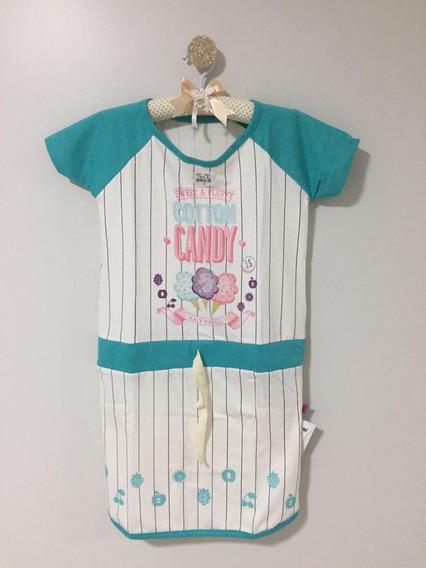 Roupa De Criança Menina Infantil Vestido Blusado Em Algodão#