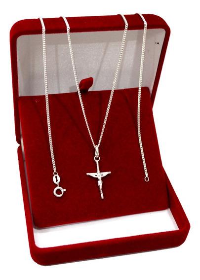 Corrente Prata 925 Pingente Crucifixo Escama De Peixe Fina