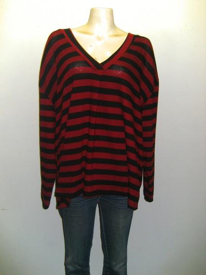 Sweaters De Lanilla Rayados Cuello V Talles Grandes