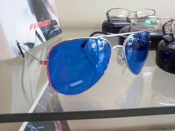 Óculos De Sol Aviador Cromado C/ Lentes Rave Azul