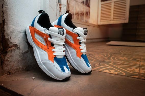 Tênis Sneaker Danger Freeday Branco/azul/laranja