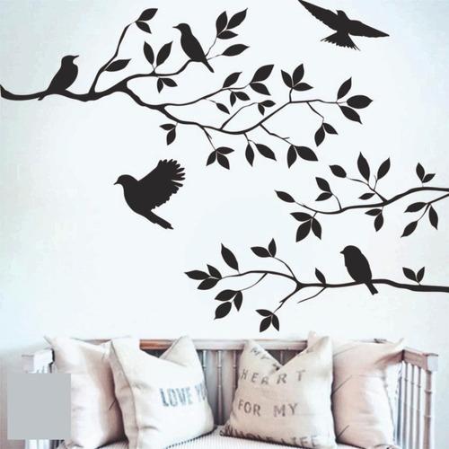Vinilo Decorativo Aves Floral. Deco Pajaros