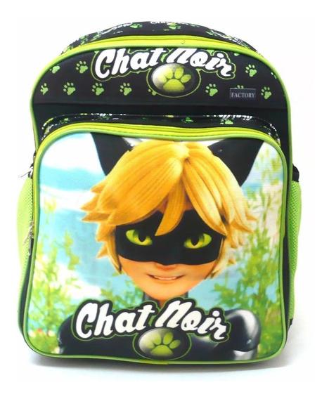 Mochila M Escolar Cat Noir Ladybug Costas Verde E Preto F4