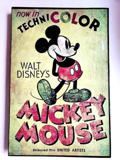 Mickey Mouse Retro Vintage Cuadro Cartel 46 Cm X 31 Cm