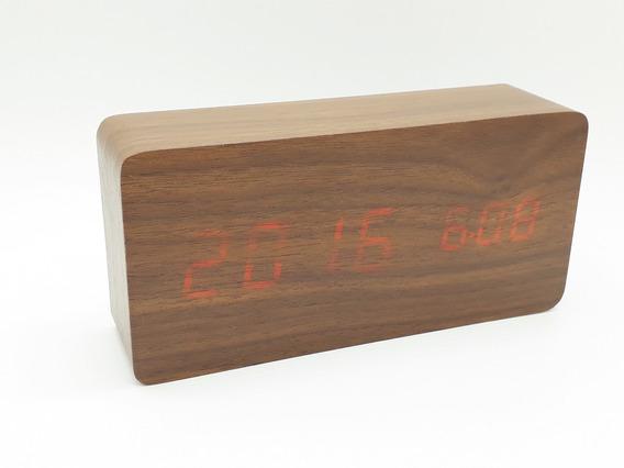 Relógio Digital Estilo Madeira 13cm Led Decoração