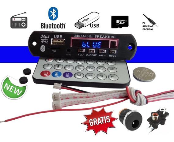 Placa Leitor De Usb Mp3 / Fm / Bluetooth / Aux Frontal / Tf