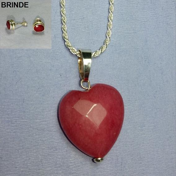 Colar Prata 925 Feminino Pingente Coração Pedra Rosa