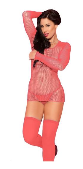 Camiseta Red Sexy + Tanga + Medias Lencería Femenina Mujer