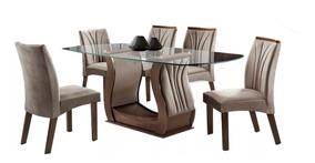 Conjunto Mesa De Jantar Luxo- Seis Cadeiras,tampo De Vidro