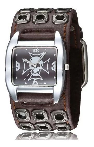 Relógio Bracelete Punk Rock Skull K2 Masculino Em Couro