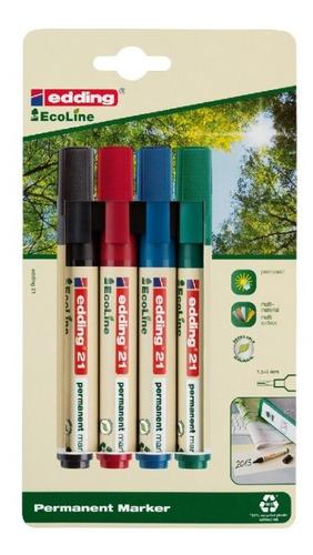 Set Marcador Permanente Ecológico Recargable Edding 21 X 4 U