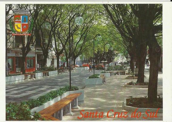 Csu-1723- Postal Santa Cruz Do Sul, R S- Calçadão Tunel Verd