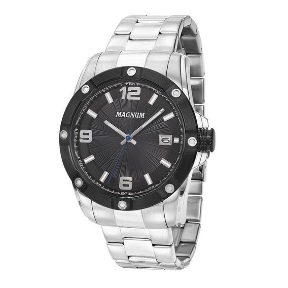 Relógio Magnum Masculino Analógico Aço Prata Preto Ma34709t