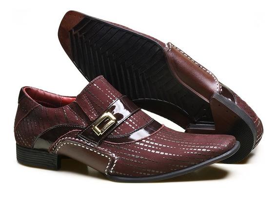 Sapato Social Masculino Em Couro Com Textura Calvest