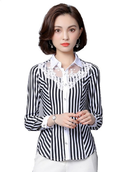 Camisa Social Listrada Blusa Feminina Renda Tule Floral
