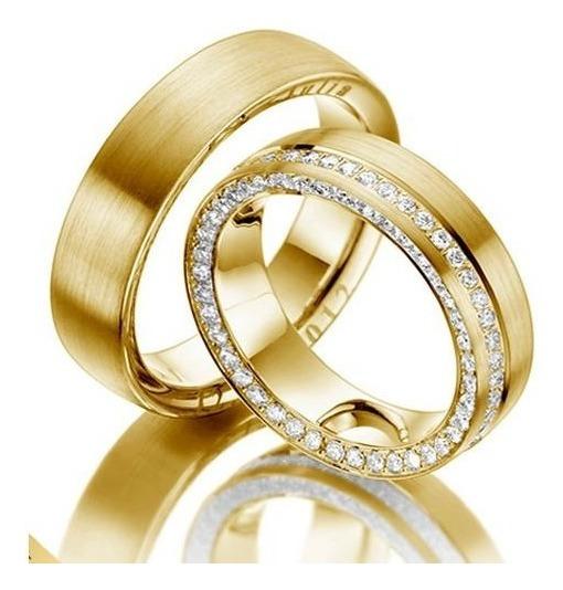 Par Alianças Casamento Ouro Amarelo 18k 7mm Luxo Exclusivo