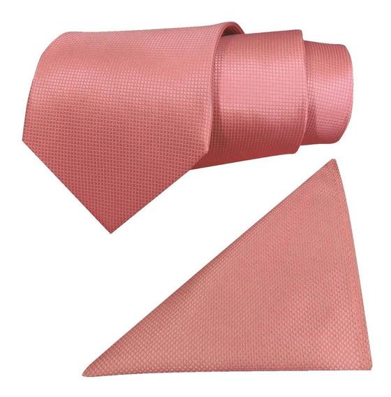 Corbata Con Pañuelo Color Coral Para Caballero Sp0014