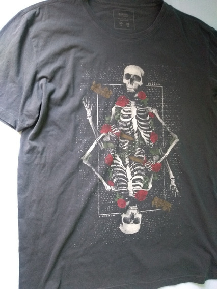 Camisa Cinza Masculina Caveira Hype