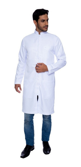 Jaleco Style Branco Com Ziper Branco - Faíko Jalecos