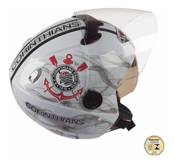 Capacete Masculino Moto Aberto Corinthians Pro Tork