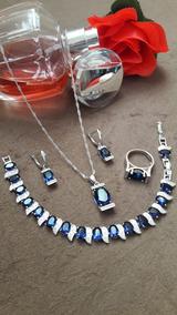 Conjunto Semi Joias Banhado Em Prata Pedra Zircônia Azul Saf