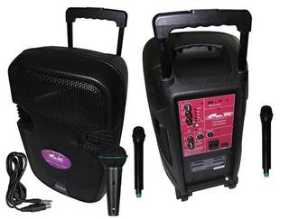 Parlante 12 Portatil Bateria 2 Mic Inalambrico + Mic Cable P