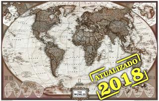 Mapa Do Mundo Grande Hd 65x100cm Vintage Para Decorar Casa