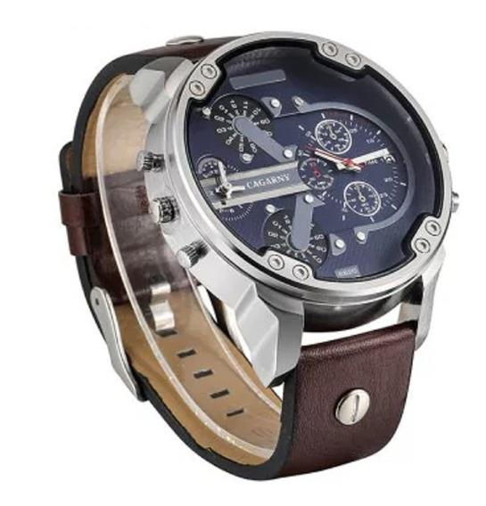 Relógio Cagarny 6820 Quartz Pulseira Couro Sintético Luxo