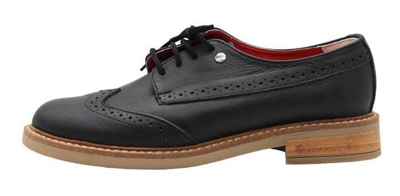 Zapatos Mujer Acordonados Clasicos Bajos Negro Leblu 861