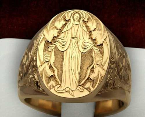 Anel Santa Milagrosa Ouro 18k Joia Artisticas