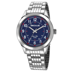 Relógio Masculino Seculus Prateado 23644g0svna2 Visor Azul
