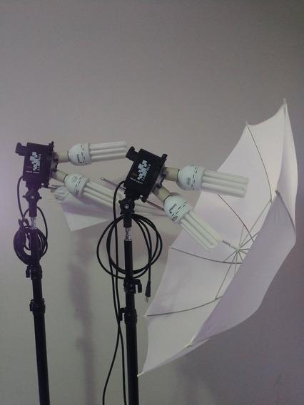 Kit Iluminação C/ 8 Lampadas + Par De Sombrinhas Difusoras