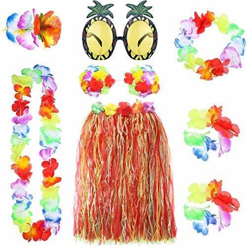 Gejoy 8 Piezas Hawaiana Hula Falda Con Collar Pulsera Diadem
