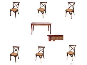 Kit Mesa Retangular + 6 Cadeiras Katrina- Cor Castanha