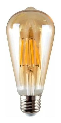 10x Lámpara Foco Filamento Led Pera Vintage St58 E27 Cálida