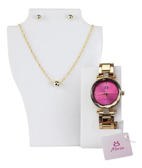 Kit Relógio Feminino Dourado Rose + Cordão E Brincos Atacado