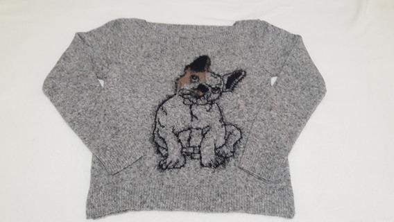 Blusa Feminia Tricot Cachorro Pug