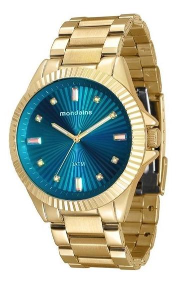 Relógio Mondaine Feminino Dourado Fundo Azul 76613lpmvde2