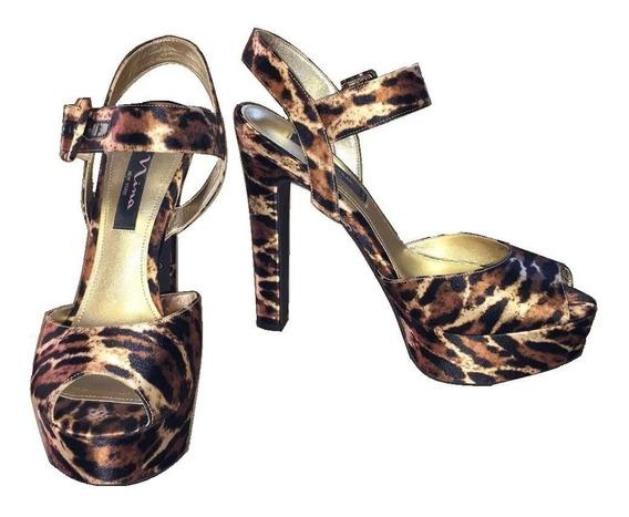 Nina Ny Sandalia Importada Usa Raso Leopardo Taco Plataforma